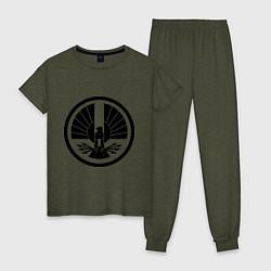 Пижама хлопковая женская The Hunger Games: Symbol цвета меланж-хаки — фото 1