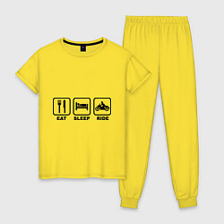 Пижама хлопковая женская Eat Sleep Ride цвета желтый — фото 1