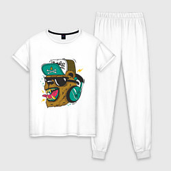 Пижама хлопковая женская Boom, Boom Bear цвета белый — фото 1