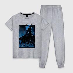 Пижама хлопковая женская Batman цвета меланж — фото 1