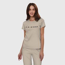 Пижама хлопковая женская Logo Friends цвета миндальный — фото 2