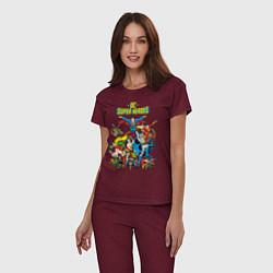Пижама хлопковая женская Justice League цвета меланж-бордовый — фото 2
