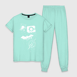 Пижама хлопковая женская Логотипы Justice League цвета мятный — фото 1