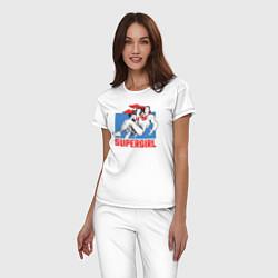 Пижама хлопковая женская Superman & Supergirl цвета белый — фото 2