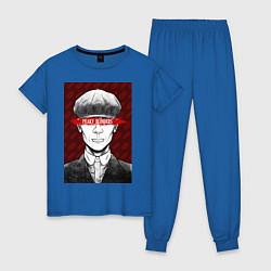 Пижама хлопковая женская Tomas Shelby цвета синий — фото 1