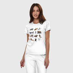 Пижама хлопковая женская Конный виды спорта цвета белый — фото 2