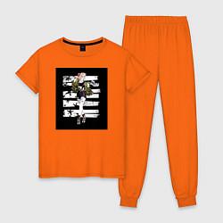 Пижама хлопковая женская Харли Квин цвета оранжевый — фото 1