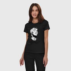 Пижама хлопковая женская LIL PEEP цвета черный — фото 2