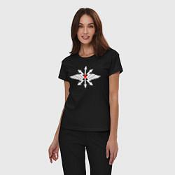 Пижама хлопковая женская Войска связи цвета черный — фото 2