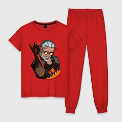 Пижама хлопковая женская Ведьмак цвета красный — фото 1