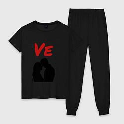 Пижама хлопковая женская LOVE 2 часть цвета черный — фото 1
