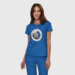 Пижама хлопковая женская Гагарин Восток 1 цвета синий — фото 2