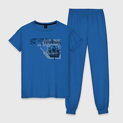 Пижама хлопковая женская St'Petersburg цвета синий — фото 1