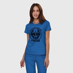 Пижама хлопковая женская Войска связи цвета синий — фото 2