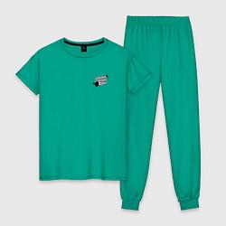 Пижама хлопковая женская BT21 цвета зеленый — фото 1