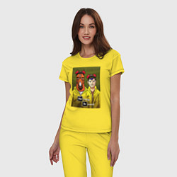 Пижама хлопковая женская BoJack Horseman цвета желтый — фото 2