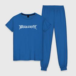 Пижама хлопковая женская Megadeth цвета синий — фото 1