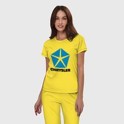 Пижама хлопковая женская Chrysler цвета желтый — фото 2
