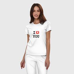 Пижама хлопковая женская I love you цвета белый — фото 2