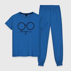 Пижама хлопковая женская Imagine John Lennon цвета синий — фото 1