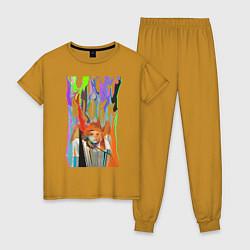 Пижама хлопковая женская Bjork цвета горчичный — фото 1