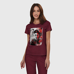 Пижама хлопковая женская Supernatural цвета меланж-бордовый — фото 2
