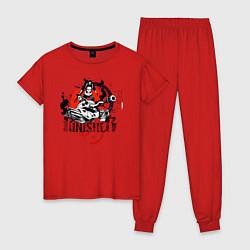 Пижама хлопковая женская The Punisher цвета красный — фото 1