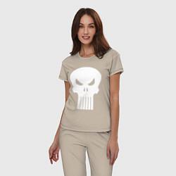 Пижама хлопковая женская The Punisher Череп цвета миндальный — фото 2