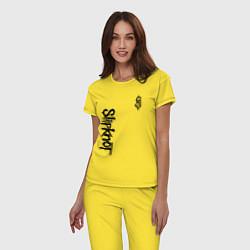 Пижама хлопковая женская SLIPKNOT цвета желтый — фото 2