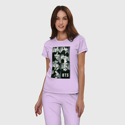 Пижама хлопковая женская BTS цвета лаванда — фото 2