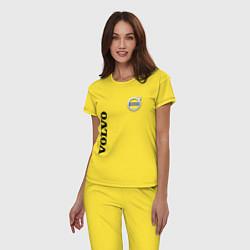 Пижама хлопковая женская VOLVO цвета желтый — фото 2