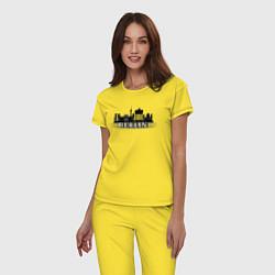 Пижама хлопковая женская Берлин цвета желтый — фото 2