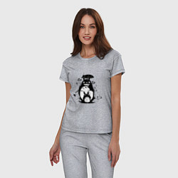 Пижама хлопковая женская Тоторо цвета меланж — фото 2