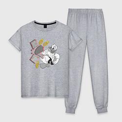 Пижама хлопковая женская Дональд Дак каратист цвета меланж — фото 1