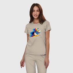 Пижама хлопковая женская Дональд Дак цвета миндальный — фото 2