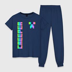 Пижама хлопковая женская MINECRAFT CREEPER цвета тёмно-синий — фото 1