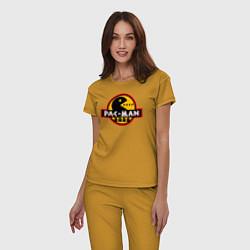 Пижама хлопковая женская PAC-MAN цвета горчичный — фото 2