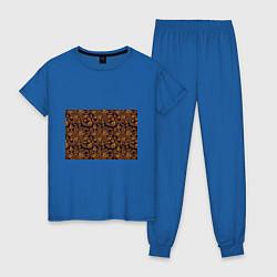 Пижама хлопковая женская Лето золото цветы узор цвета синий — фото 1
