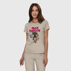 Пижама хлопковая женская Iron Maiden цвета миндальный — фото 2