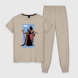 Пижама хлопковая женская Джафар цвета миндальный — фото 1