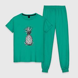 Пижама хлопковая женская Ананас Моргенштерна цвета зеленый — фото 1