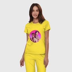 Пижама хлопковая женская Бигби и Белоснежка цвета желтый — фото 2