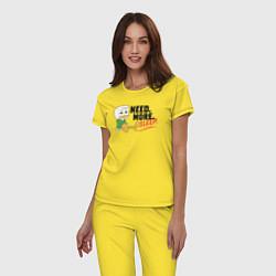 Пижама хлопковая женская Need More Sleep цвета желтый — фото 2