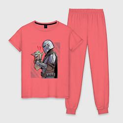Пижама хлопковая женская Мандалорец и Дитя цвета коралловый — фото 1