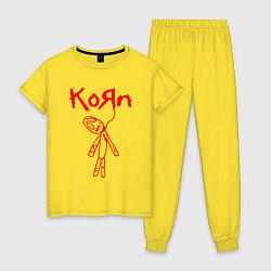 Пижама хлопковая женская Korn цвета желтый — фото 1