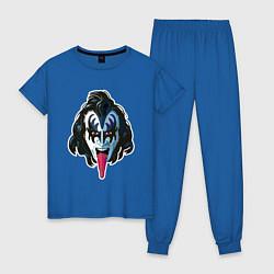 Пижама хлопковая женская KISS THIS цвета синий — фото 1
