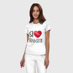 Пижама хлопковая женская Я люблю Тольятти цвета белый — фото 2