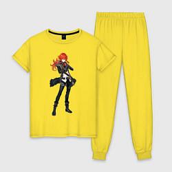 Пижама хлопковая женская Дилюк Genshin Impact цвета желтый — фото 1