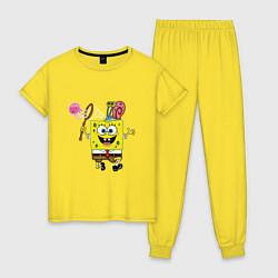 Пижама хлопковая женская Губка Боб цвета желтый — фото 1