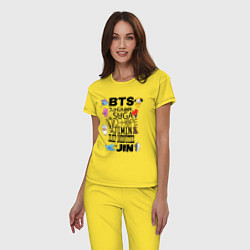 Пижама хлопковая женская BTS BT21 цвета желтый — фото 2